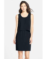 Marc New York Black Sleeveless Crepe Popover Dress