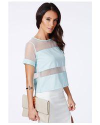 Missguided - Blue Lelita Mint Mesh Panel Tshirt - Lyst