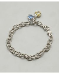 Judith Ripka - Metallic Canary Crystal and Blue Quartz Stone Linen Charm Bracelet - Lyst