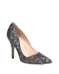kate spade new york - Metallic Licorice Glitter Leather Pumps - Lyst