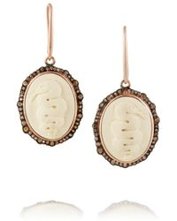 Amedeo - Metallic Rose Gold-Plated, Faux Ivory And Diamond Snake Cameo Earrings - Lyst