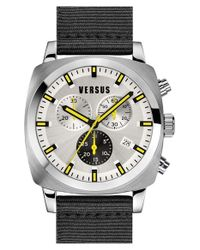 Versus | Black 'riverdale' Chronograph Canvas Strap Watch for Men | Lyst