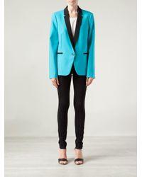Michael Kors Blue One Button Tuxedo Jacket