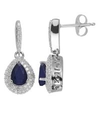 Lord & Taylor | Blue 14Kt. White Gold Diamond And Sapphire Earrings | Lyst