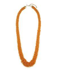 TOPSHOP - Orange Beaded Long Necklace - Lyst