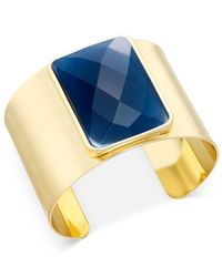 INC International Concepts | Metallic Gold-tone Solid Metal Large Blue Stone Cuff Bracelet, Only At Macy's | Lyst