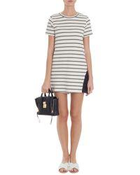CLU - White Striped Ruffled Dress - Lyst