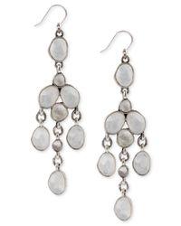 Lucky Brand | Metallic Silver-Tone Organic Stone Chandelier Earrings | Lyst