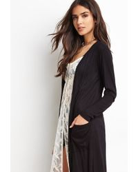 Forever 21 - Black Ribbed Knit Longline Cardigan - Lyst