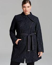 Marina Rinaldi Blue Plus Tempera Overcoat