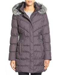 Via Spiga | Gray Waist Detail Down & Feather Fill Coat With Faux Fur Trim Hood | Lyst