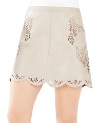 BCBGMAXAZRIA | Natural Jenhifer Embroidered Faux-leather Mini Skirt | Lyst