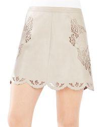 BCBGMAXAZRIA | Natural Jenhifer Embroidered Faux-leather Mini Skirt | Lyst