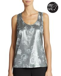 424 Fifth Metallic Silvery Rose Print Tank Top