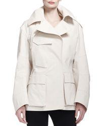 Donna Karan - White Flap-pocket Tech Fabric Trenchcoat - Lyst