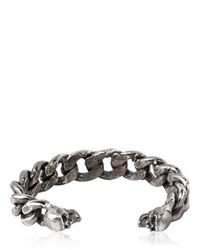 Emanuele Bicocchi | Metallic Sterling Silver Chunky Chain Skull Cuff for Men | Lyst
