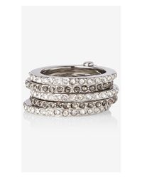 Express Metallic Pave Hinge Stack Ring