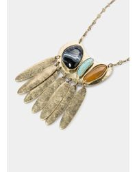 Violeta by Mango | Metallic Metal Plate Necklace | Lyst
