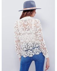 Free People | Blue New Romantics Womens New Romantics Washed Lace Pullover | Lyst