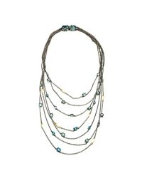 Alexis Bittar Metallic Midnight Marquis Multi Strand Necklace With 18k Gold