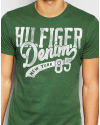 Hilfiger Denim | T-shirt With Logo Print In Green for Men | Lyst