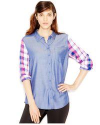 Kensie | Blue Yarn-dyed Plaid Contrast Shirt | Lyst