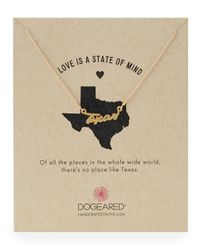 Dogeared | Metallic Gold-dipped Texas Script Necklace | Lyst