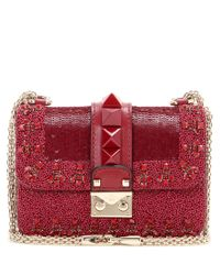 Valentino - Red Lock Mini Embellished Leather Shoulder Bag - Lyst