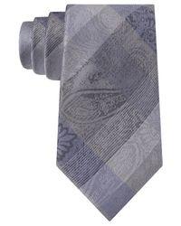 Sean John - Blue Plaid Paisley Tie for Men - Lyst