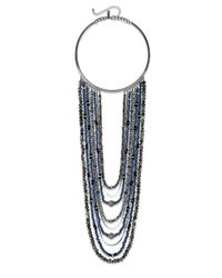 INC International Concepts - Hematite-tone Blue Bead Multi-row Collar Necklace - Lyst