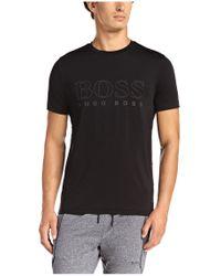 BOSS Green | Black T-shirt: 'tianotech' In Jersey for Men | Lyst