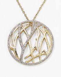 Nadri - Metallic Aurora Pave Circle Pendant Necklace 20 - Lyst