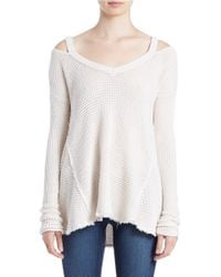 Free People | Natural Moonshine Cold-shoulder Sweater | Lyst