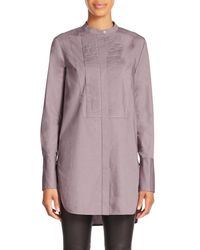 Vince - Brown Pleated Stretch-cotton Shirt - Lyst