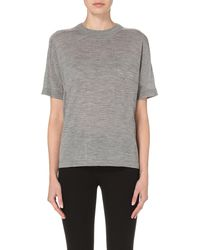 JOSEPH - Gray Round-neck Wool Top - Lyst
