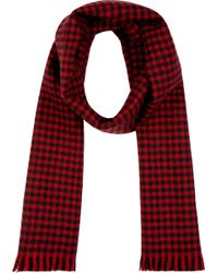 Saint Laurent - Red and Black Gingham Check Scarf for Men - Lyst