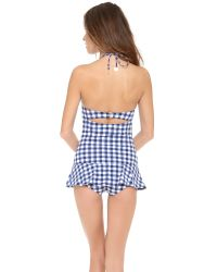 Juicy Couture Blue Gingham Style Swimdress
