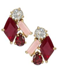 kate spade new york - New York Gold-Tone Pink Multicolor Pink Stone Cluster Earrings - Lyst
