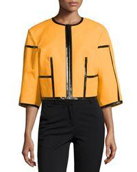 Michael Kors - Black Taped Zip-front Jacket - Lyst