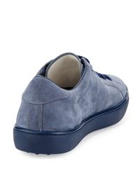 Tod's - Blue Suede Lace-Up Sneaker for Men - Lyst