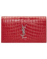 Saint Laurent Red Croc-embossed Monogram Clutch