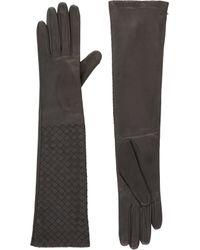 Bottega Veneta - Gray Intrecciato Long Gloves - Lyst