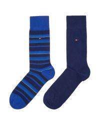 Tommy Hilfiger | Blue 2 Pack Of Variation Stripe Socks for Men | Lyst