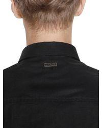 Bikkembergs | Black Stretch Cotton Poplin Short Sleeve Shirt for Men | Lyst