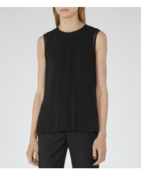 Reiss - Black Barley Trim-detail Top - Lyst