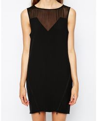 2nd Day - Black Dress With Sheer Detail - Lyst