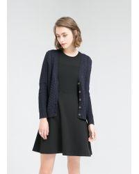 Mango - Blue Cable-Knit Cotton Cardigan for Men - Lyst