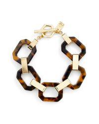 Lauren by Ralph Lauren | Brown Faux Tortoiseshell Link Bracelet | Lyst
