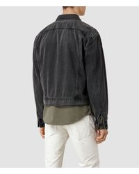 AllSaints Black Okiku Boxy Denim Jacket for men