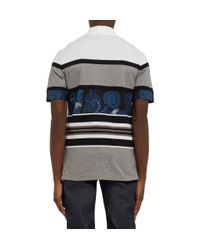 Givenchy | Blue Slim-Fit Paisley-Paneled Striped Polo Shirt for Men | Lyst